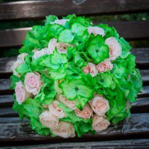 Buchet cununie hortensie verde